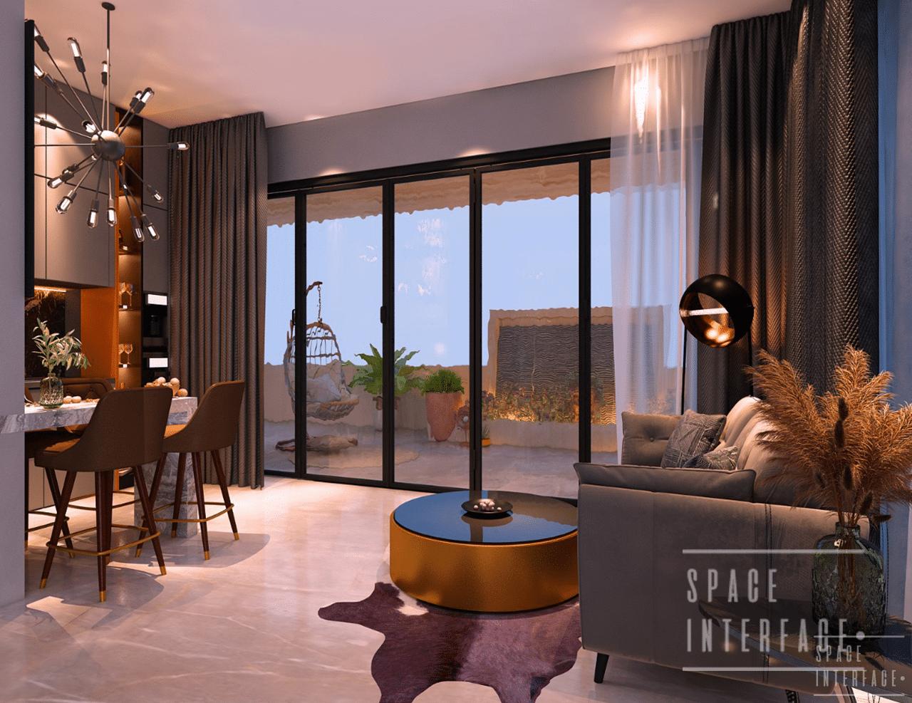 Bar and lounge design, sharma residence